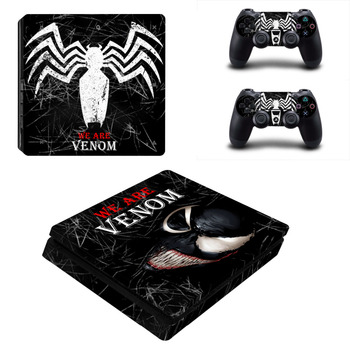 Spiderman Venom PS4 Slim Skin Sticker For Sony PlayStation 4 Console and Controller For Dualshock 4 PS4 Slim Sticker Decal new popular cod decal skin cover for playstation 4 slim for ps4 slim console stickers skin 2 pcs controller vinyl skins
