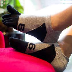 Номер 6 принт Для мужчин хлопковые носки Мода летний хит Цвет дышащий лодыжки Пять пальцев носки для Для мужчин
