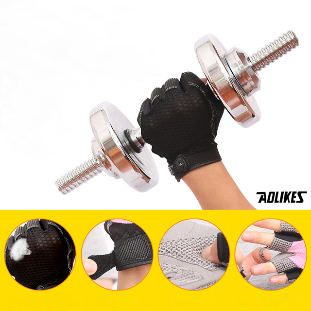Women Gym Gloves Dumbbells Gloves Fitness Half Finger Gloves Breathable Anti-skid Protect Support Wrist Mittens Women AGB552