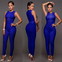 Hot European Style Women Jumpsuit Solid Bodycon Bandage Jumpsuit Full Length Rompers Women Overalls QJ5074