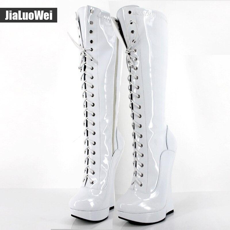 купить Brand New Ballet Boots Lace-up 18cm Wedge heel with strange Heel 3CM Platform Patent Leather Sexy Fetish Zipper Knee High boots дешево