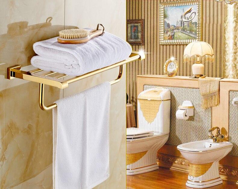Luxury Wall Mount Bath Towel Holder Shelf Gold Finish Towel Rack luxury wall mount toilet paper holder bath storage shelf gold brass bath holders