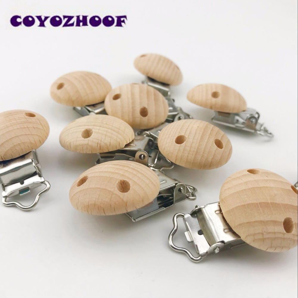 29mm 40pcs Can Chew Natural Wood Clips Beads Baby Nursing Teether DIY Dummy Pacifier