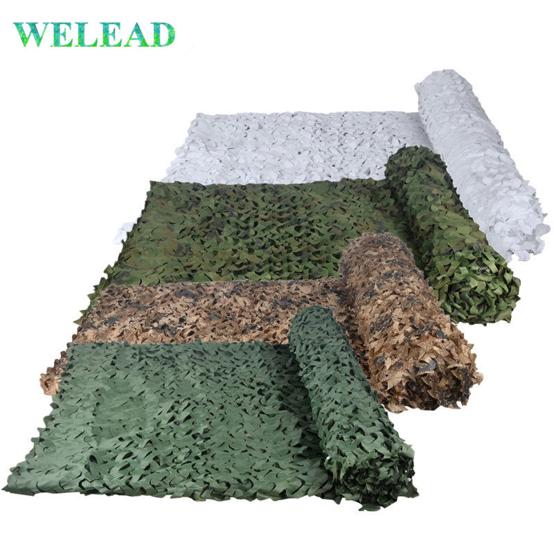WELEAD Reinforced Military Camouflage Nets Hunting Camo Netting Pergola Gazebo Shade Garden Hiding Outdoor Awnings Army Concealment Mesh White Desert Sand Woodland