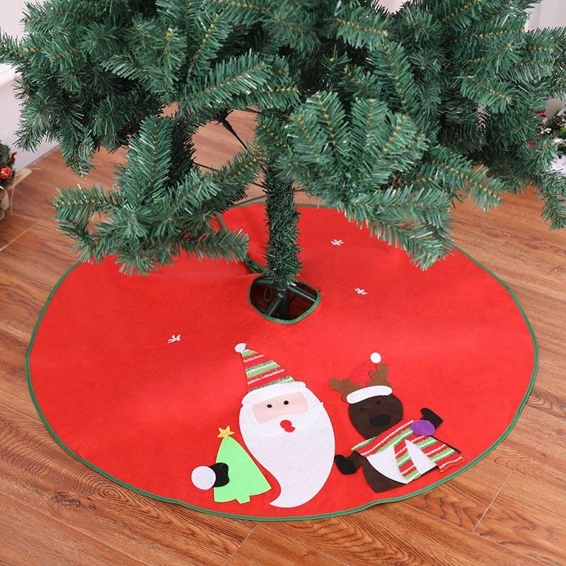 Christmas Tree Skirts 90cm Edge Snowman Santa Claus Tree Skirt Christmas Tree Skirt Christmas ...