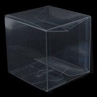 Vierkante Transparante PVC Doos Vouwen Kartonnen Verpakkingen Clear Candy Cholocate Cosmetische Cupcake Verpakking Verjaardag Bruiloft Gunst