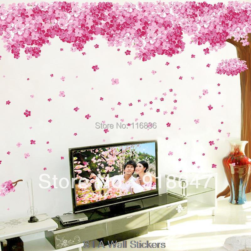 Purple Romantic Big Flower Wall Stickers Home Decor: SIA New Large Size 3pcs Romantic Pink Sakura Wall Stickers
