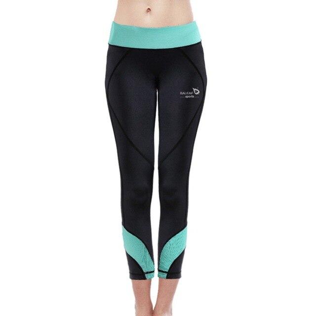 f949dc8076001 Baleaf New Women Fitness& Yoga Capri Pants W/ Light-Green Waistband High  Elastic Slim-fitting GYM Running Exercise Leggings S-XL