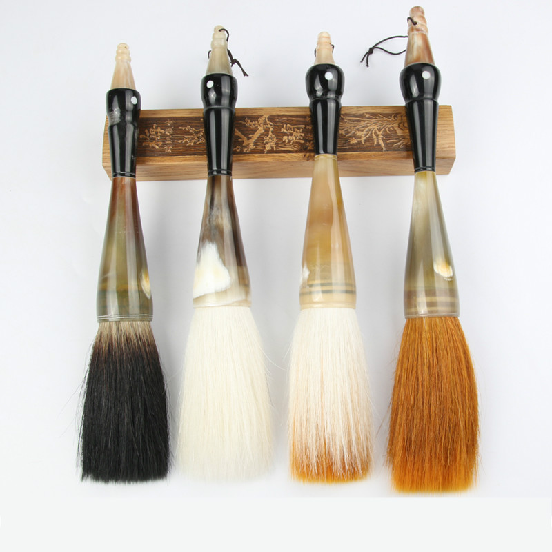 Chinese Traditional Calligraphy Brushes Pen Weasel Multiple Hairs Writing Couplets Hopper-shaped Brush The Scholar's Four Jewels chinese traditional calligraphy brushes pen woolen and weasel hair multiple hairs writing brushes artist drawing copybook suit