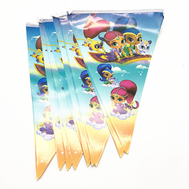 10pcs Shimmer And Shine Party Banners Baby Shower Party Supplies
