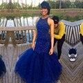 Vestidos de Fiesta Sexy Con Cuentas de Tul Azul Vestidos de Baile Personalizado hecho Vestido de Fiesta Formal Por Encargo de La Sirena Vestido de Fiesta Libre gratis