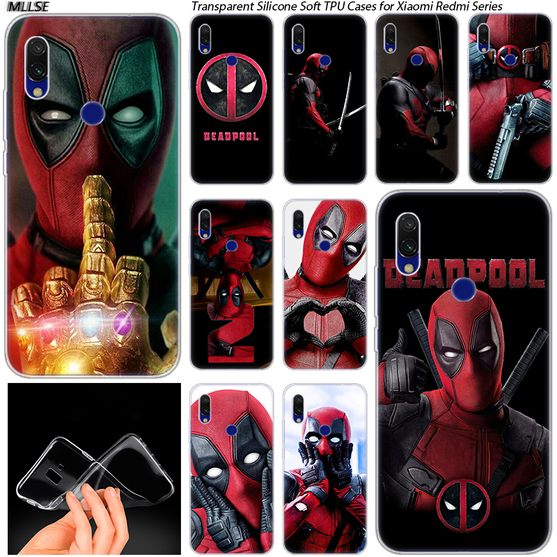 <font><b>MARVEL</b></font> Hero Deadpool Soft Silicone <font><b>Case</b></font> for <font><b>Xiaomi</b></font> <font><b>Redmi</b></font> K20 7 7A 5 5Plus 6 6A S2 <font><b>Note</b></font> 8 7 6 5 Pro Fashion Cover image