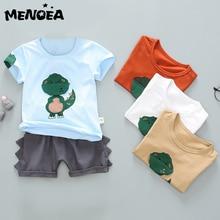 Menoea Fashion Boys Casual Suit Summer Children Dinosaur Baby Suit Baby Boy's Clothes Cotton Tee Shirt Short Pants Soft 1-4Years menoea baby outerwear