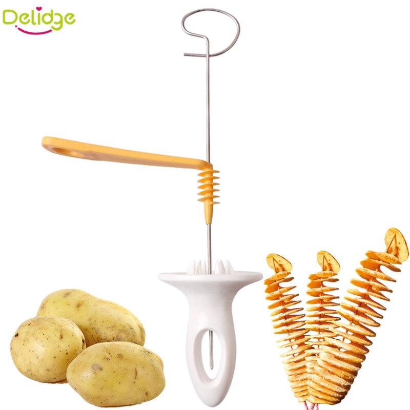 Delidge 1 stück 3 string Drehen Kartoffelschneider Edelstahl + Kunststoff Gedrehtes Kartoffelscheibe Schneider Spiral DIY Manuelle Kreative