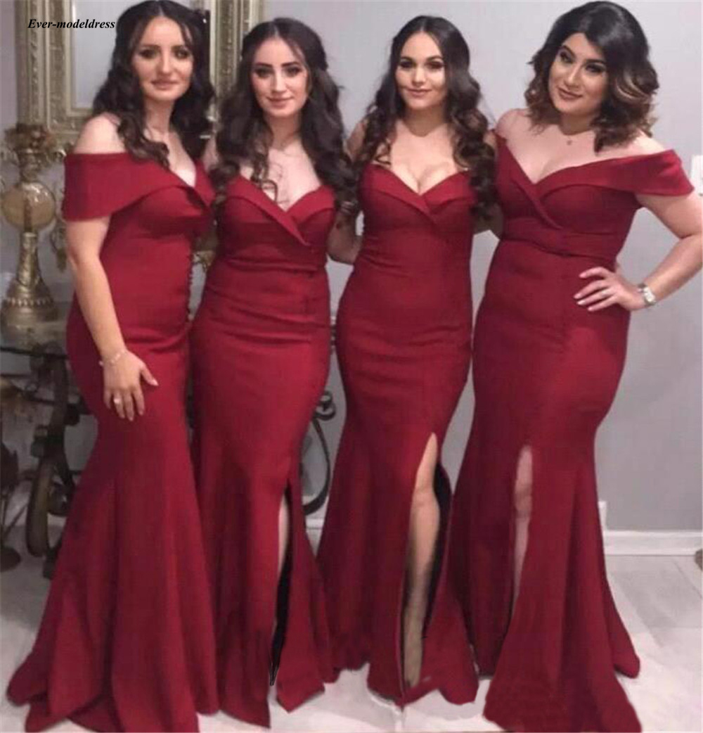 2019 Burgundy Mermaid   Bridesmaid     Dress   Side Split Off Shoulder V Neck Formal Long Wedding Guest Party Gowns Maid Of Honor Cheap