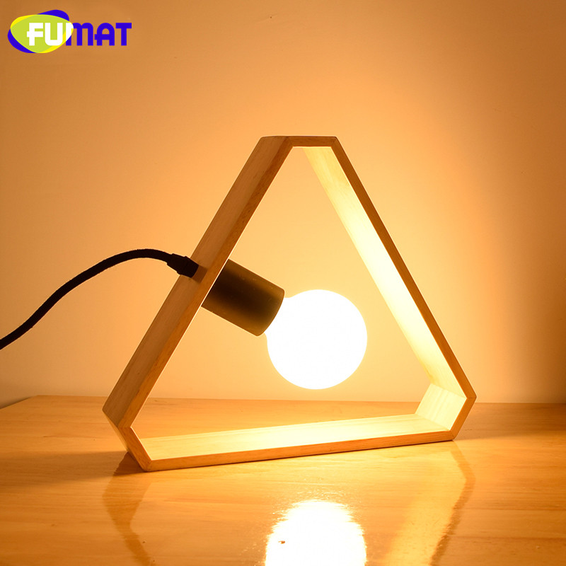 FUMAT Art Wood Triangle Table Lamps Nordic Modern Bedroom Bedside Table Lamp Living Room Decoration Warm LED Wood Table Lights fumat stained glass table lamp high quality goddess lamp art collect creative home docor table lamp living room light fixtures