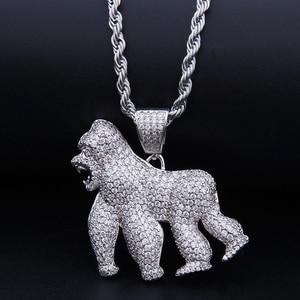 Ожерелье с подвеской в виде животных со льдом гориллы, модное ожерелье с цепочкой, 2 вида цветов, ААА, циркониевое мужское ожерелье в стиле хи...