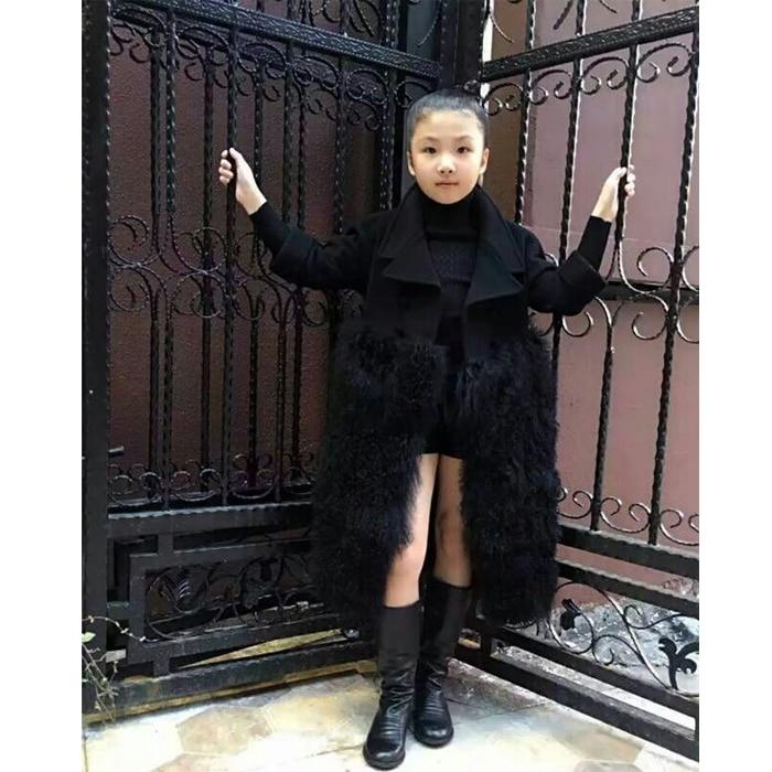 Elegant faux fur coat girl s Fluffy warm long sleeve wool outerwear Black chic autumn winter
