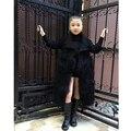 Элегантный искусственного меха пальто девушки Пушистый теплый с длинным рукавом шерсть верхняя одежда Черный chic осень зима куртки пальто волосатые пальто