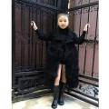 Elegant faux fur coat girl's Fluffy warm long sleeve wool outerwear Black chic autumn winter coat jacket hairy overcoat