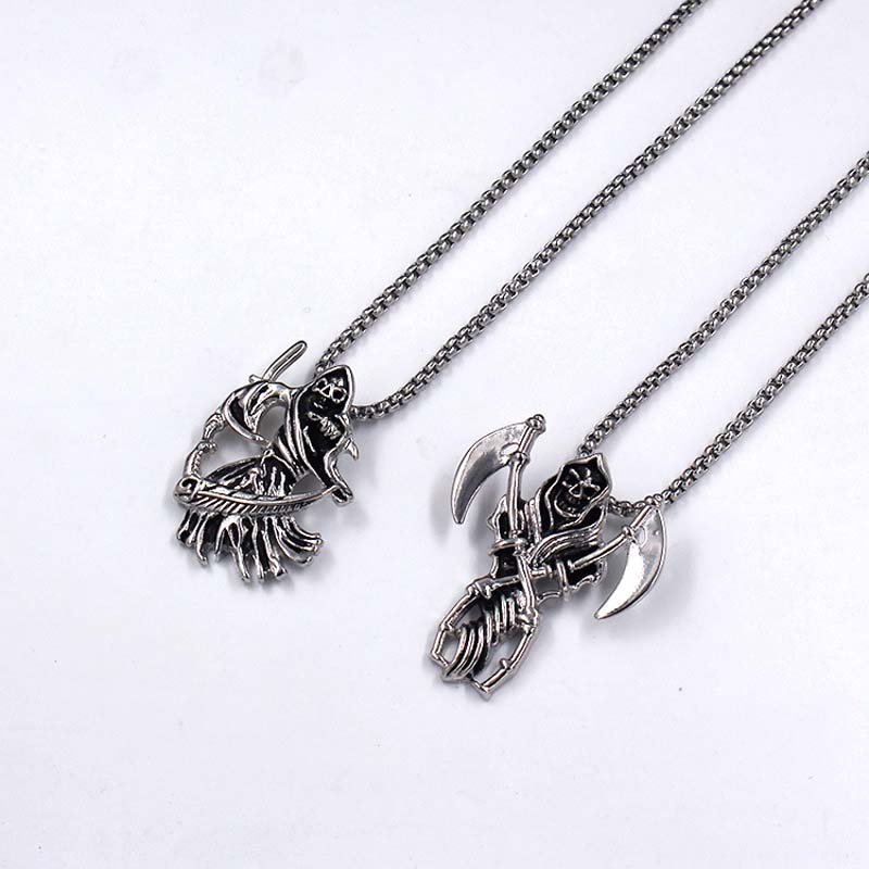 Necklace for Men Devils Skeleton With Death Scythe Skeleton Necklace Cool Accessories Pendent Alloy Necklace Gift For Man Maxi Punk jewelry