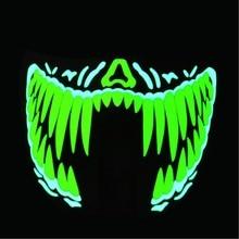 LED maskas Apģērbs Big Terror Maskas Aukstā gaisma Ķivere Uguns Halovīni Festivāla puse Kvēlojošs deja Stabils