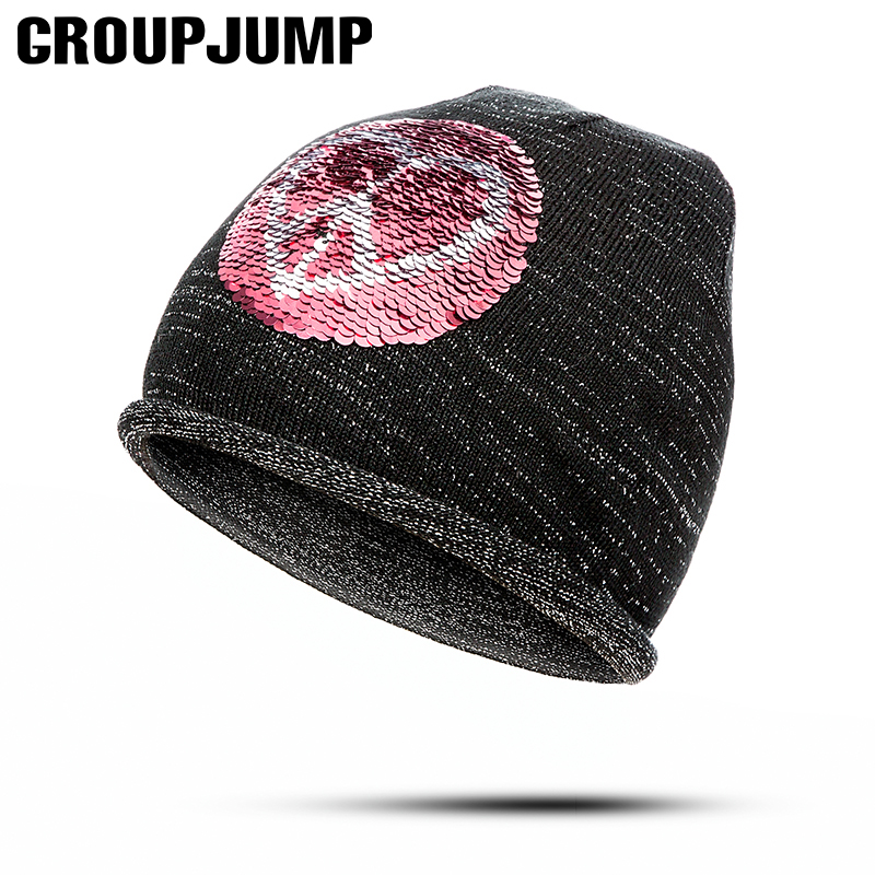 GROUP JUMP Women s Sequins Beanies Hat Spring Black Knit Cotton Slouchy  Beanie For Women Skull Cap Winter Hats for Ladies -in Skullies   Beanies  from ... 75a1beed7c7