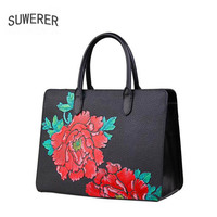 New Genuine Leather women bags Hand painted embossed Flowers Fashion luxury handbags women bags designer women leather handbags