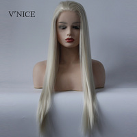 V'NICE Long Straight Platinum Wig Synthetic Lace Front Natural Hair Wig Middle Part Blonde White Heat Resistant Fiber Woman Wig