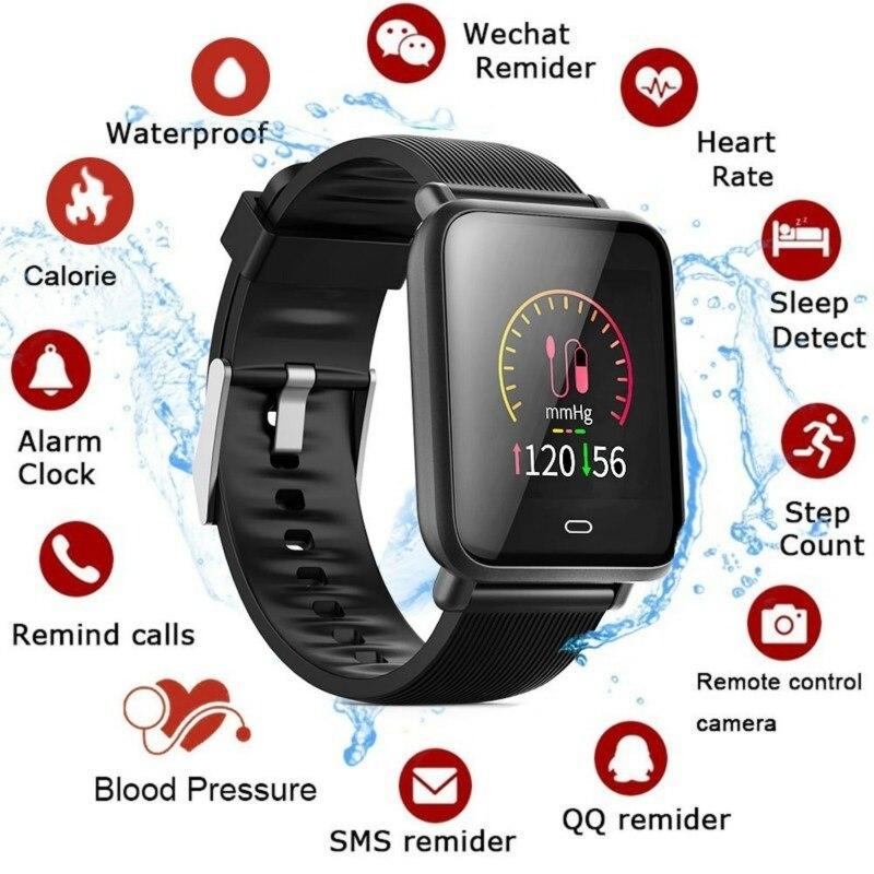Q9 Smart Uhr Blutdruck Herz Rate Monitor IP67 Wasserdichte Sport Fitness Trakcer Uhr Männer Frauen Smartwatch