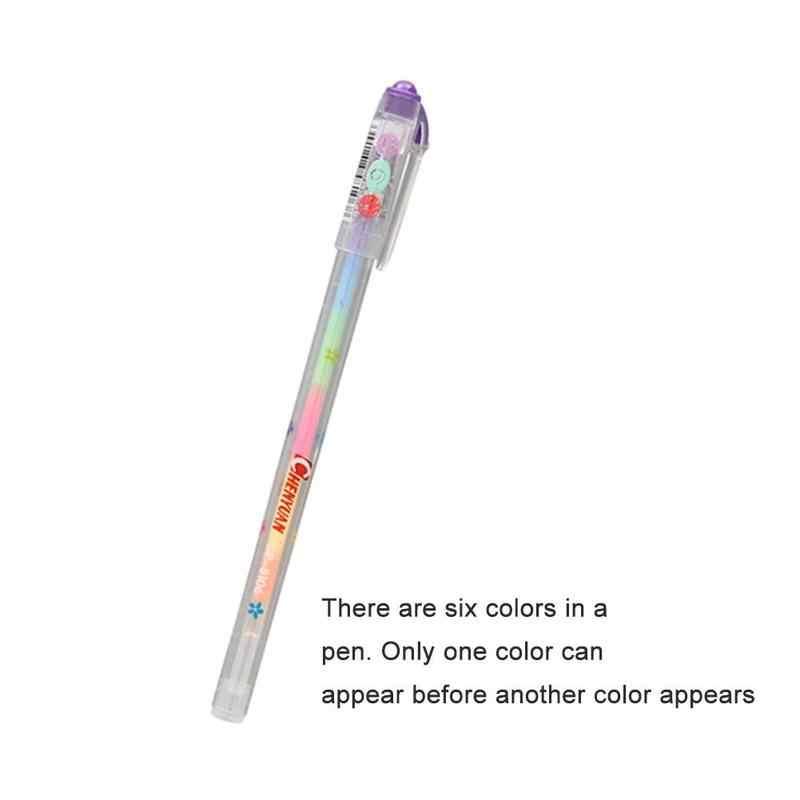 Random Creative Multi Color Rainbow Gel Pen Highlighters Gel Pen Ball Point Pen Students Painting Graffiti Fluorescent Pen