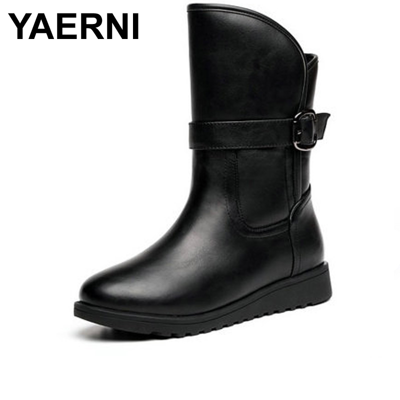 YAERNI 2017 Autumn/ winter Boots New Round toe Belt buckle women boots Europe  the retro style revers mid-calf  Martin boot double buckle cross straps mid calf boots