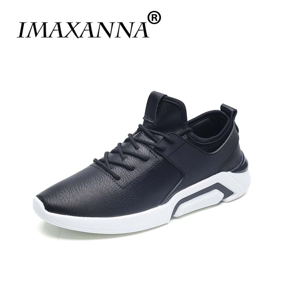 IMAXANNA PU Leather running shoes men outdoor shoe Light Lace Up sport shoes man's 2018 Breathable Sneakers Trainers black white