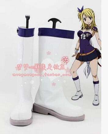 Fairy Tail Lucy Heartfilia Cosplay Costume purple version lolita dress white punk boots customized shoes