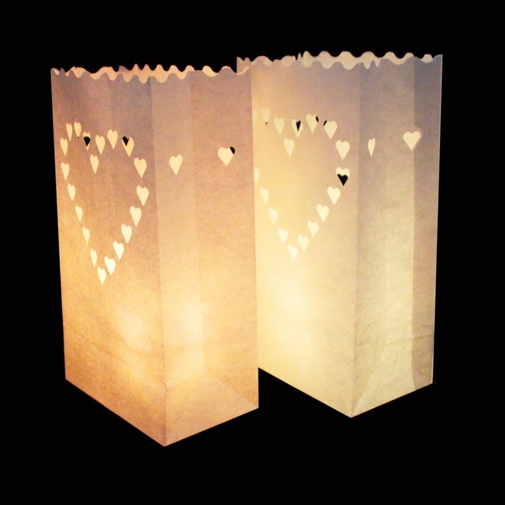 OurWarm 100pcs Decorative Candle Bags Paper Lantern Party Wedding Lantern Decoration Outdoor Lantern Star Moon 4