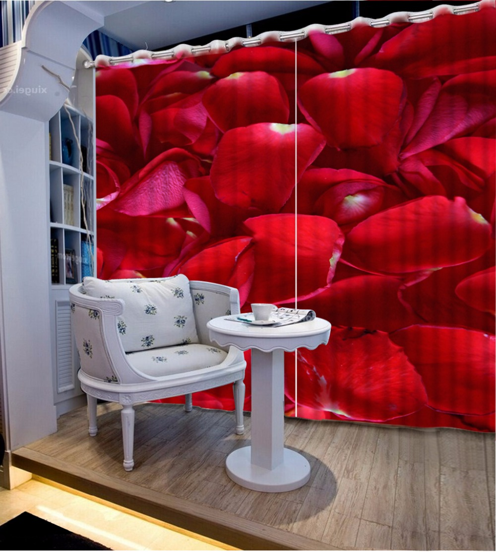 Living room curtains red - Customize 3d Curtains For Living Room Red Rose Petals Short Curtains For Kitchen Window Photo Curtains