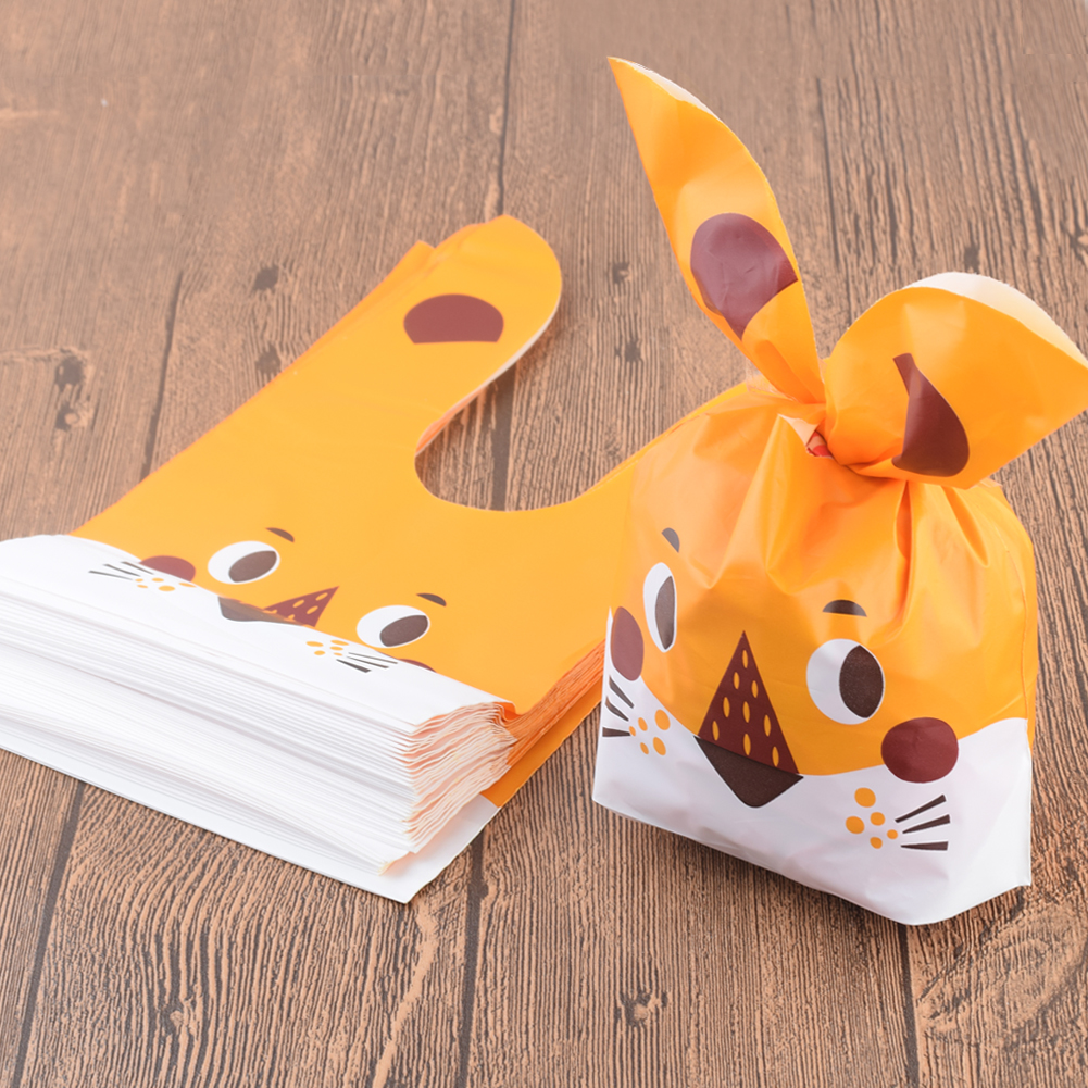 50Pcs Plastic Cute Long Ear Bag Cookie Candy Bags Wedding Birthday Favors Easter Birthday Party Snack Gift Bags Packaging Gift in Gift Bags Wrapping Supplies from Home Garden