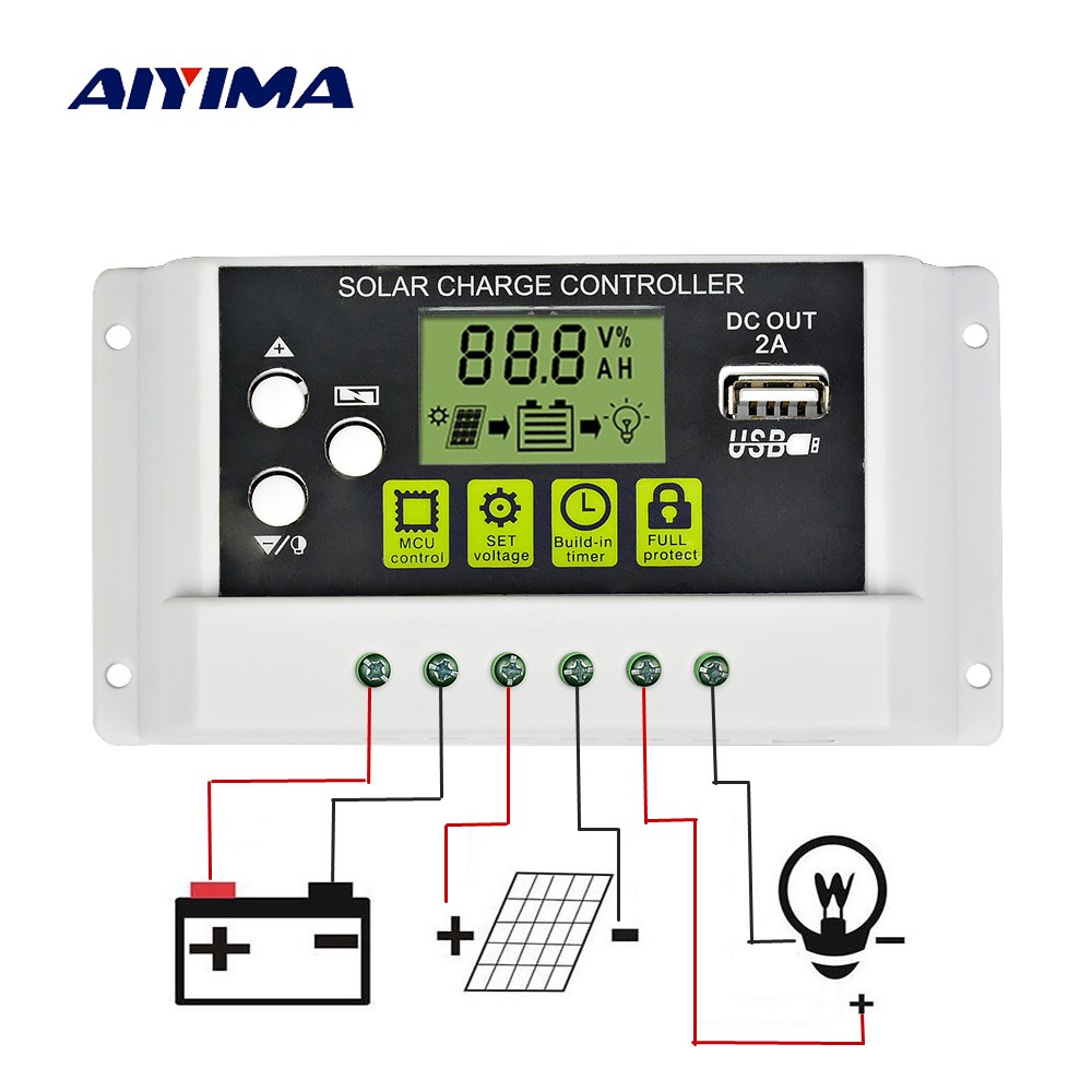 Aiyima 12V 24V 30A Solar Charge Controller 20A 10A LCD Solar Panel Regulator Battery Charge Controller with Backlight function