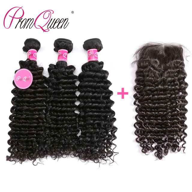 Promqueen Deep Curly 3 Bundles with Closure Human Hair Bundles with Lace Frontal Malaysian Deep Wave Hair Bundles with Closure