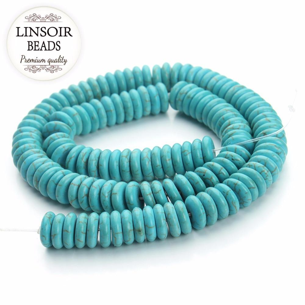 10pcs 4-10mm Sleeping Beauty Turquoise gemstone,aqua blueblue Round rondelle wheel heishi spacer beads