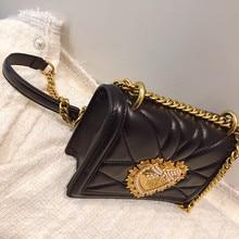 Ladies Metal Love Heart Pattern Chain Shoulder Crossbody Bags High Quality Women Leather Handbags Clutch Evening Bags Louis Bags
