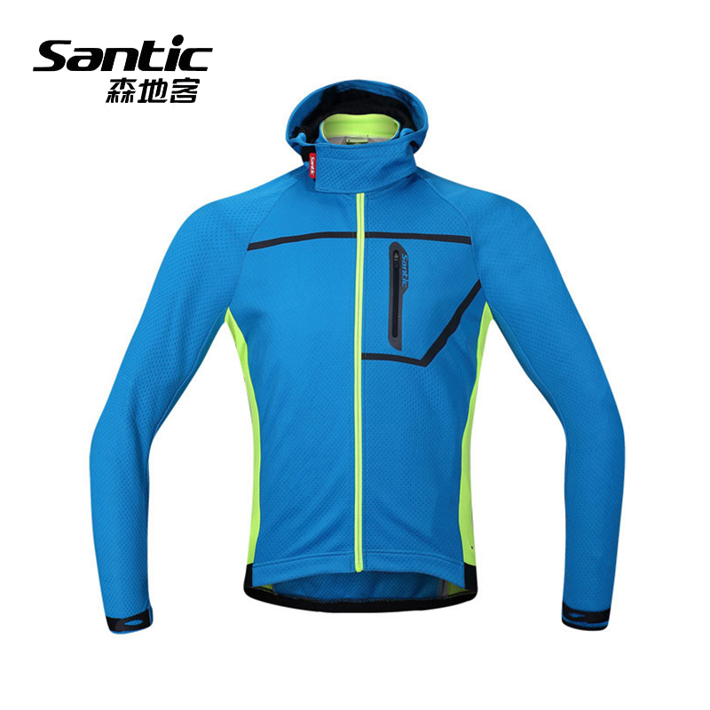 Santic Cycling Jacket Winter Thermal Cycling Wear Reflective Windproof Bicycle Coat Sports mtb Clothes Men Fleece Bike Clothing santic men cycling jacket upf30 mtb bicycle bike rain jacket raincoat long sleeve outdoor sport windproof cycle clothing 2017