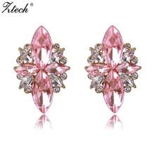 ZTech 2017, Новая мода серьги элегантный 6 цветов Опал Камень Серьги-гвоздики розовый Кристаллические серьги для Для женщин Рождественское праздничное платье
