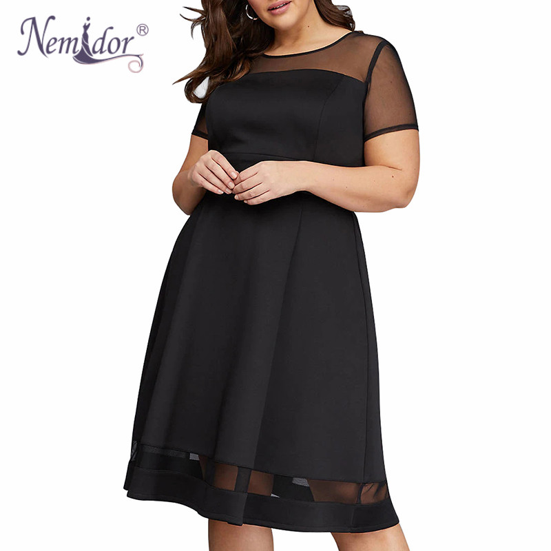 Nemidor 2018 Women Elegant Mesh Patchwork Party A-line Dress Vintage O-neck Plus Size 8XL 9XL Knee Length Cocktail Swing Dress