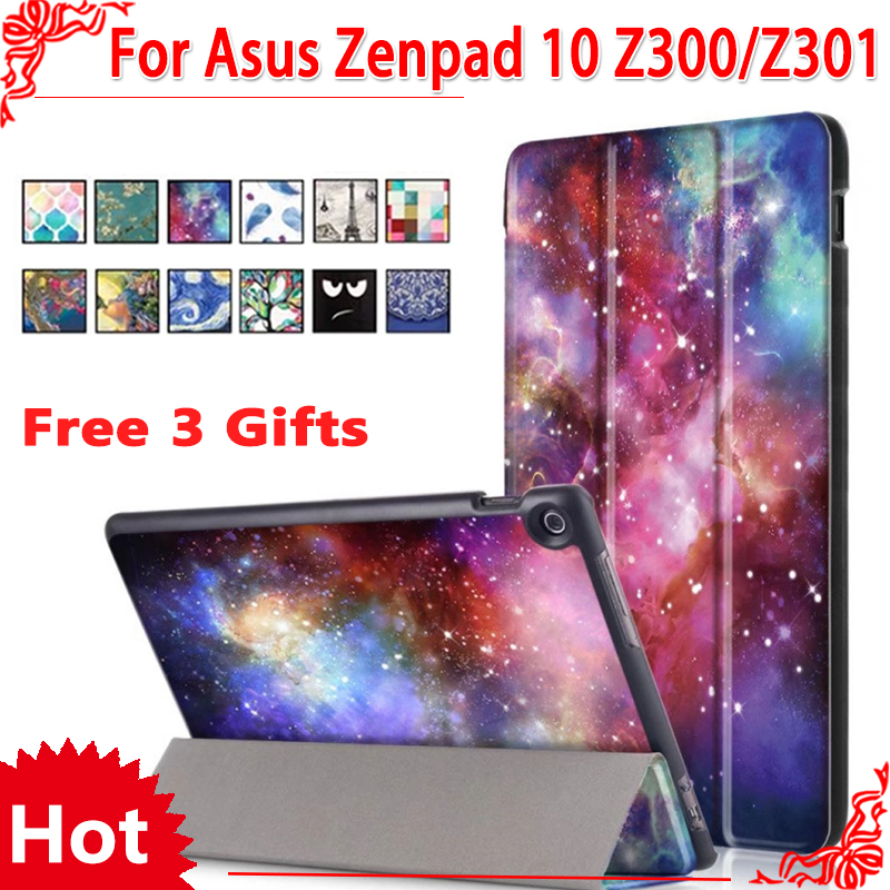 case For Asus Zenpad 10 Z300 Z300CG Z300C Z300m Z300CNL Pu Leather Stand case for asus zenpad 10 Z301MLF Z301ML Z301+ 3 gifts планшет asus zenpad 10 z300cg 16gb 3g black