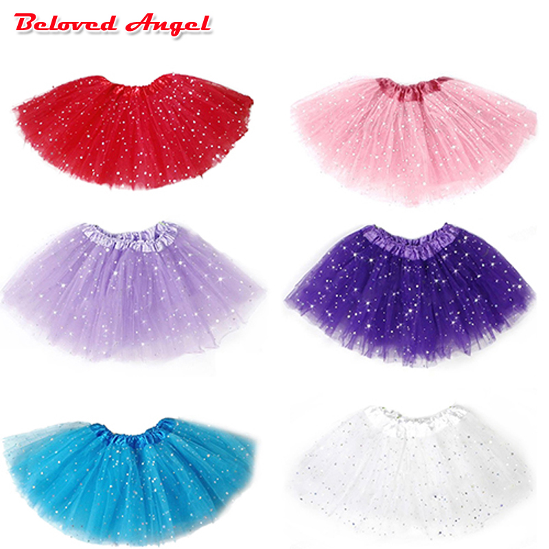 2019 Fashion Fluffy Chiffon Pettiskirts Tutu Baby Girls Skirts Star Print Mesh Princess Skirt Dance Wear Party Clothes 2-8T
