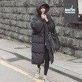 2015 Preto Grande Plus Size Coréia Moda Feminina Outwear Quente Grosso Pele De Pato Para Baixo Casaco de Inverno Mulheres Parka Oversize Retro Com Capuz