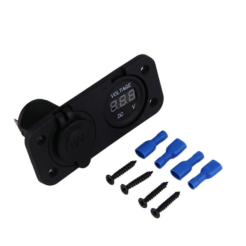Volt Meters Panel Mount : Newest v led waterproof socket power outlet volt meter