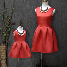 Spring and autumn fashion family baby red small dress parent-child one-piece dress basic skirt puff skirt