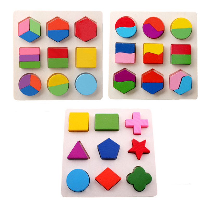 Learning Education Montessori Wooden Blocks Math Toys Puzzle Toys For Children Educational Equipment Resources Geometry Gifts